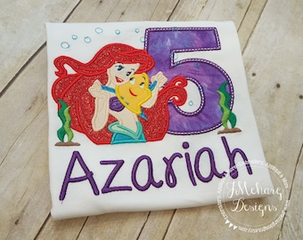 Mermaid Birthday Custom Tee Shirt - Customizable -  Infant to Adult 3