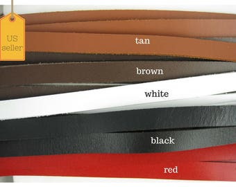 Leather strip, 10mm Genuine flat leather strip, Leather cords, Jewelry making, 10mm, 1yd strip
