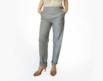 Gray womens pants, High waisted trousers, Gray elastic waist pants, Printed pants, Grey Trousers, Pockets, cotton pants, Comfortable pants