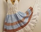 Bohemian Gypsy Sundress, Hippie Summer Festival Dress, Plus Size Patriotic Dress, Boho Maxi Beach Dress, Handmade Patchwork Eco Clothing