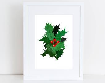 Christmas Holly Art Print - Holiday Art Decor