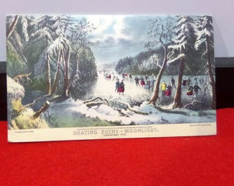 "Vintage Currier and Ives Print Greeting Card - ""Skating Scene Moonlight"" - Unused"