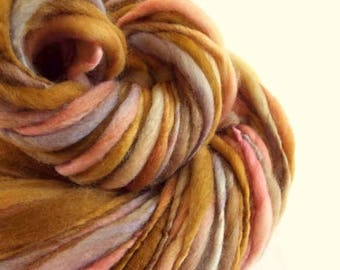 Chunky thick and thin merino knitting yarn, handspun wool in lilac, pink,ivory and rusty brown, big bulky knitting wool