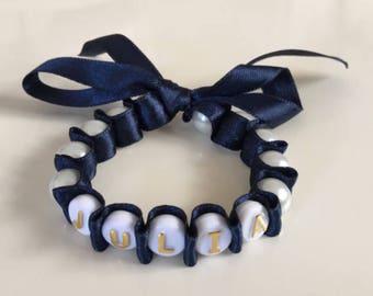 40% SALE, Prom, Pearl Name Ribbon Bracelet,Flower Girl Ribbon Bracelet,Personalised Pearl Bracelets, Baptism Gift, Christening Gift, Baby Sh