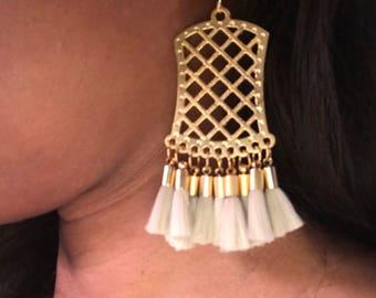 Gold Filigree Earring with Beige Tassels