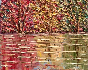 KADLIC Original Oil Painting Summer Spring Fall Trees Landscape Abstract Impressionism  Art 11x14