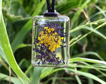 Purple Yellow Queen Anne's Lace Botanical Resin Pendant