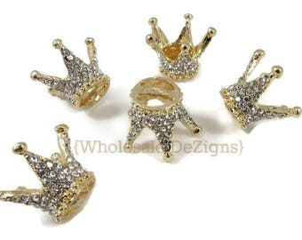 Gold Crown Rhinestone Sliders - Clear Rhinestone - Metal Base - 25mm - Embellishments - DIY Bling