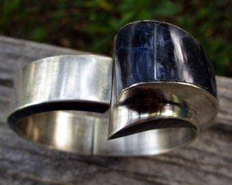 Los Ballesteros Sterling Silver Inlay Sodalite Clamper Cuff Bracelet Mexico