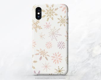 Snowflakes iPhone X Case iPhone 8 Case iPhone 7 Case Christmas iPhone 7 Plus Case iPhone 6s Case iPhone SE Case Galaxy S8 Case I141