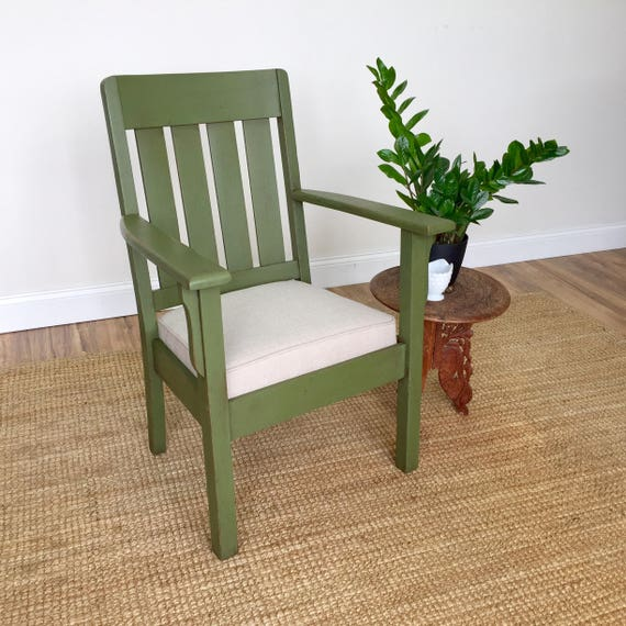 Green Armchair - Mission Furniture - Vintage Office Chair - Occasional Chair - Arts and Crafts Style - Antique Wooden Chair, Craftsman Style