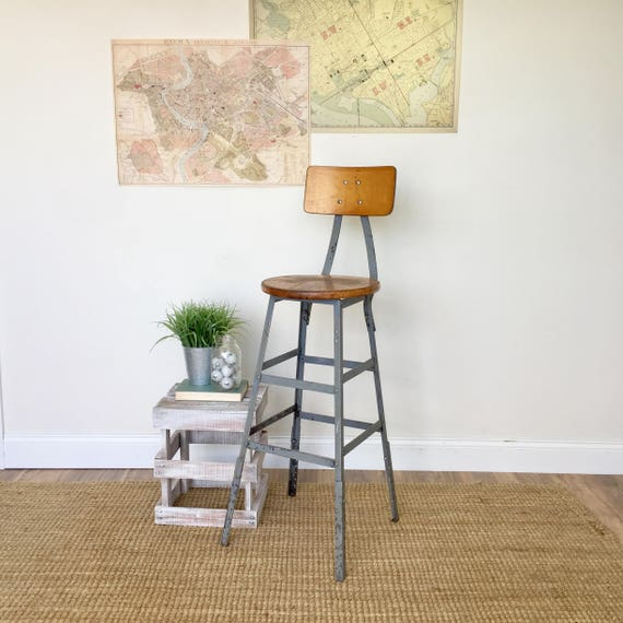 Vintage Industrial Bar Stool - Rustic Industrial Furniture - Adjustable Bar Stool - Bar Height Chair - Stool with Back - Metal Stool