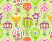 Hot Air Balloon Fabric, Green Fabric By The Yard, Blend Fabrics, Cotton Sewing Material, 1 Yard Fabric, DIY Sewing Projects, Summer Quilts