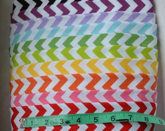 Small Chevron Fabric Bundle/10 Fat Quarters/Red, Pink, Orange, Yellow, Green, Lavender, Black/Cotton Sewing Material/Quilting, Craft