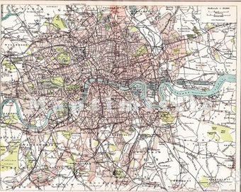 London vintage map Etsy