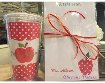 Personalized  Teacher notepad pen and tumbler set Teacher notepads teacher tumblers Teacher Gifts