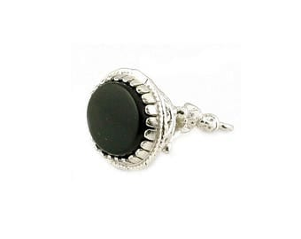 Sterling Silver & Onyx Pixie Seal Fob Charm For Bracelets