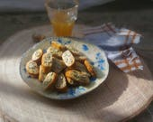 Cantucci con vinsanto, cibo casa bambole, scala 1:12- Cantucci & Vinsanto, dollhouse food, 12th scale