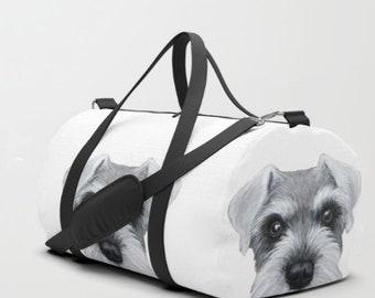 Duffle Bag. Black or grey schnauzer,  dog original painting print on both side illustration print tote bag