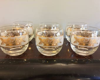 1950s Vintage 1960s Set Of 6 Mid-Century Retro Heritage Gold White Fruit Basket Motif Roly Poly Rocks Old Fashioned Lowball Cocktail Glasses