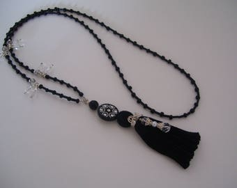 Long Black Tassel Necklace with Swarovski Accents