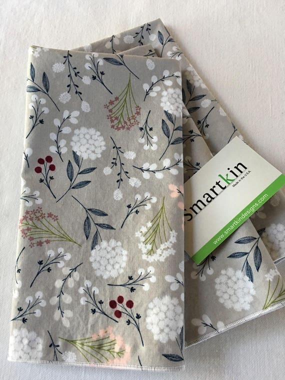 Brushed Floral Gray All Cotton Dinner Cloth Napkin 18x18 by Smartkin