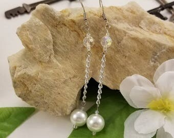White Pearl Chain Dangle Earrings