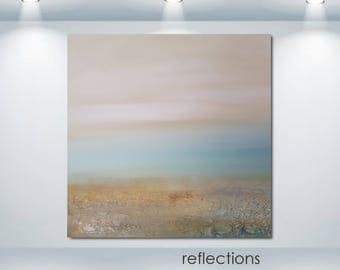 Modern Large Original Art Landscape Painting Textured Canvas Wall Hanging Diptych Earth Tones Sky Decorative Diy Interior Design Home Room