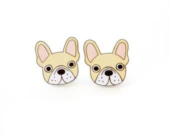 Cream French Bulldog Earrings, French Bulldog Jewelry, French Bulldog Jewellery, Dog Earrings, Dog Jewelry, Dog Jewellery,  Shrink Plastic