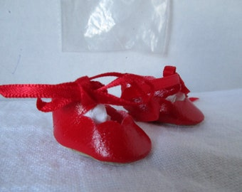 """Red Tie Shoes Fit most 8"""" Dolls Ginny Alexander by LaSioux"""