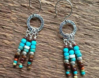 Boho Earrings, Dangle Earrings, Beaded Earrings, Bohemian Jewelry, Southwest earrings, Southwest Jewelry
