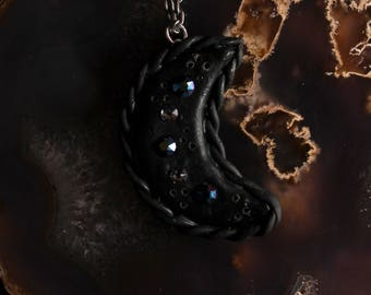 Black Crescent Moon with Swarovski Crystals and Braid accent Polymer Clay Necklace