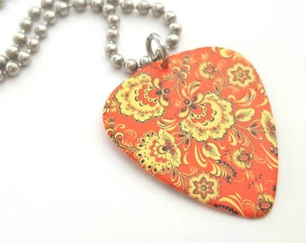 Bright Design Guitar Pick Necklace with Stainless Steel Ball Chain - orange and yellow floral design