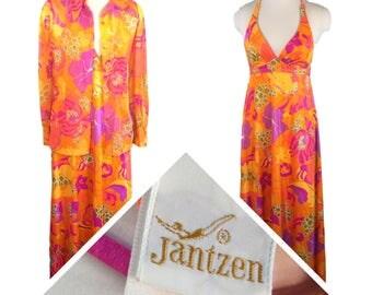 Jantzen Groovy Swim Dress Maxi Cover up Sheer Shirt Hawaiian Ensemble S/M