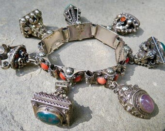 Vintage Etruscan Charm Bracelet, Coral and 800 Silver, Italian Silver Charm Bracelet,Handmade Gemstone Charms,Peruzzi Style Link and Charms