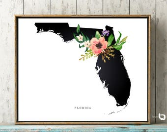 Florida Map Wall Art, Florida Map, CA, Flowers, Poster, Watercolor Art, Art Decor, USA Map, Watercolor Flowers, Print Poster
