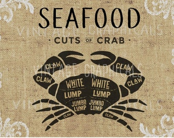 Seafood Butcher Crab cuts printable graphic Instant digital clip art for iron on fabric transfer burlap decoupage paper pillow tote No gt231