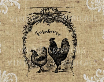 Farmhouse chickens Instant printable graphic digital download image for iron on transfer decoupage pillow tote clip art Country art No. 2173