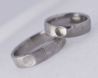 Simple WEDDING Band, Handmade mens, womens DAMASCUS steel wedding ring, for her, for him, unique custom band - Prima with a flat area