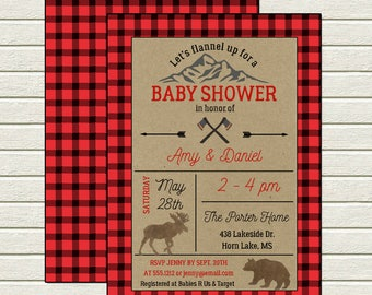Lil' Lumberjack Invitation | Baby Shower | Printable Digital File | BSI107DIY