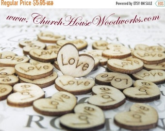 Summer SALE Love Wood Hearts, Wood Confetti Engraved Love Hearts- Rustic Wedding Decor- Table Decorations- Tiny Wooden Hearts
