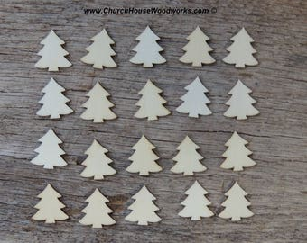 50 qty 1 inch tall Christmas trees in light wood, crafts, DIY, ornaments, scrapbooking, table decor, Christmas decor, wood crafting, blank