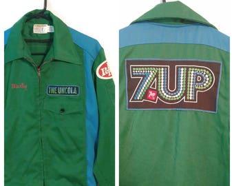 Vintage 7up jacket coat size 38 Medium Workers Uniform Vendor