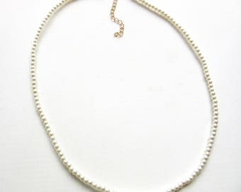 Glass Pearl Necklace Tiny Pearls Single Strand White 22 - 25 Inches