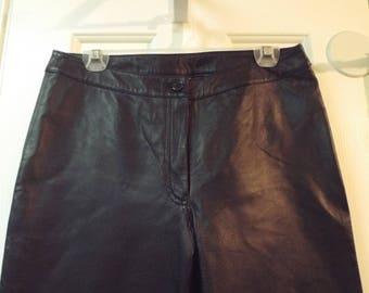 Women's 1990s Vintage Leather Black Pants Size 8 Retro Vintage Style Fashion
