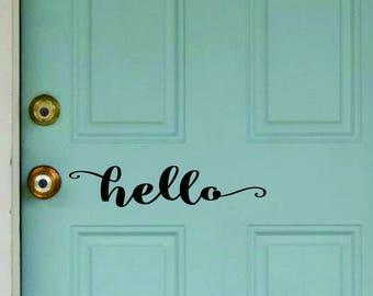 HELLO - vinyl wall decal sticker friendly front door inspirational art Free Shipping - sh