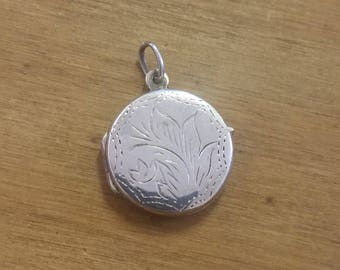 Round Vintage Sterling Silver 925 Locket Pendant