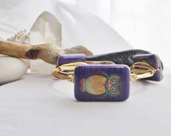 Owl Bracelet, Ultra Violet Beaded Bird Bracelet, Wire Wrap Bracelet, Gold Bangle Bracelet, Handmade Bracelet, Boho Jewelry Southwest Jewelry