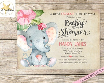 Elephant Baby Shower Invitation, Girl Shower Invitation, Digital File,  PRINTABLE _1302