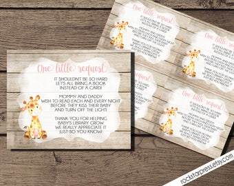 Giraffe Girl Bring A Book Insert, INSTANT DOWNLOAD, Digital File, Printable _1306